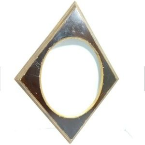 Other - Vintage MCM Diamond Oval Picture Frame Wood